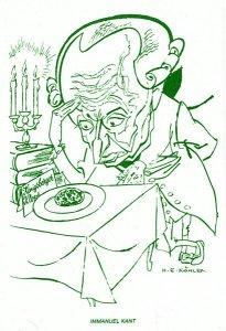 Caricatura de Kant ante un plato de albóndigas alemanas (Königsberger klops). Dibujo de H. E. Köhler Fuente: Iconografía kantiana de la Universidad de Mainz